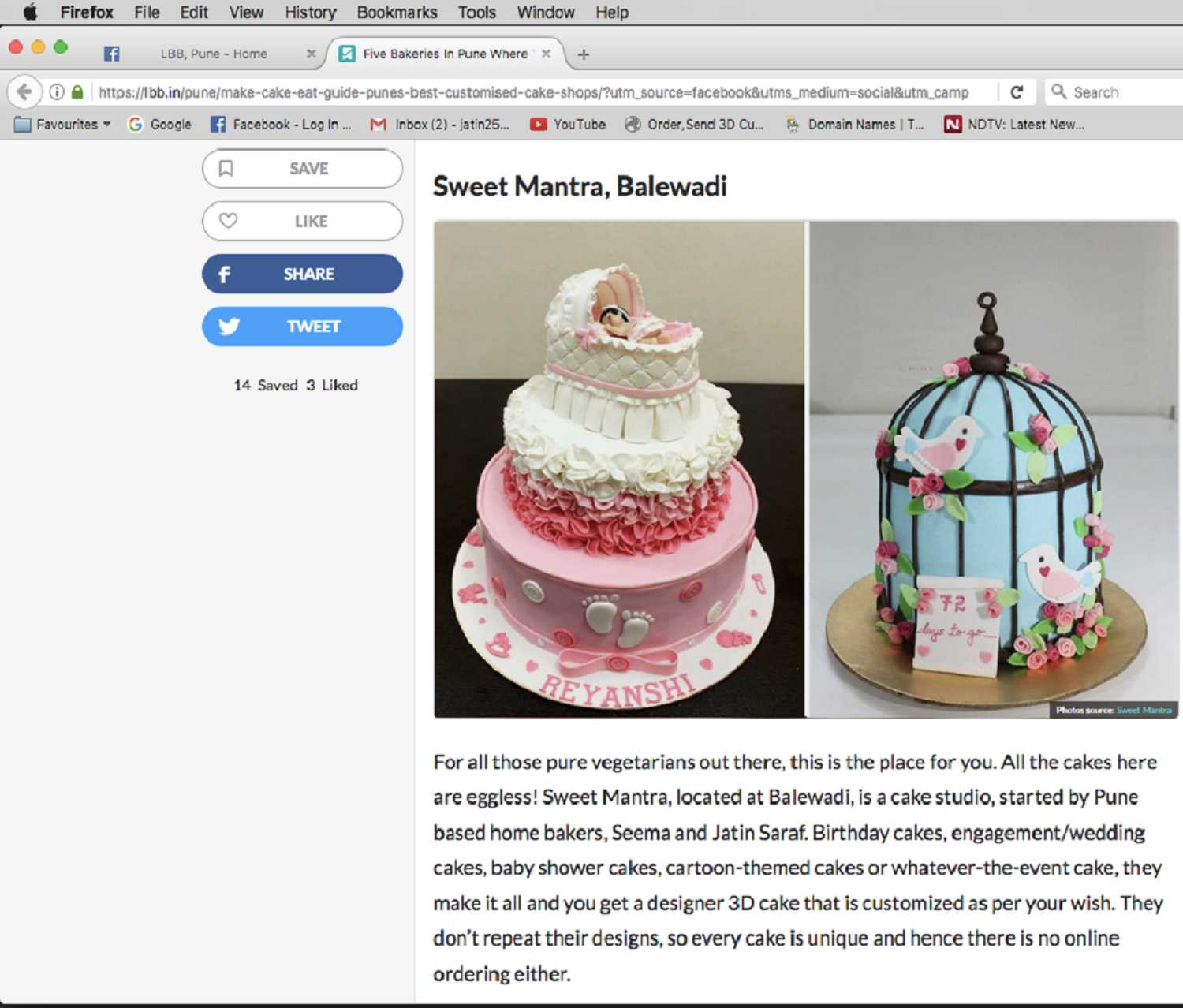 Sweet Mantra custom cake studio in Pune recommended by LBB