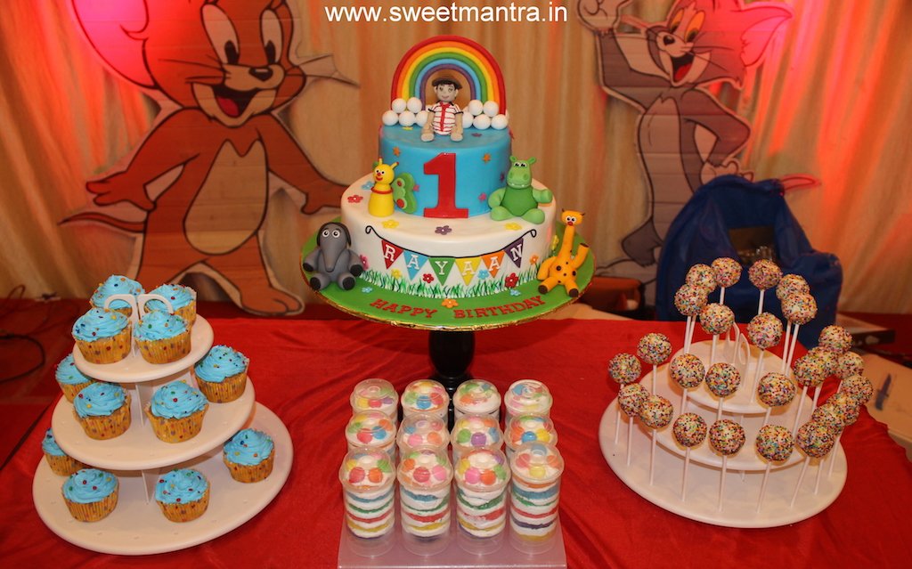 Baby TV theme colorful dessert/sugar table for boy's 1st birthday in Pune