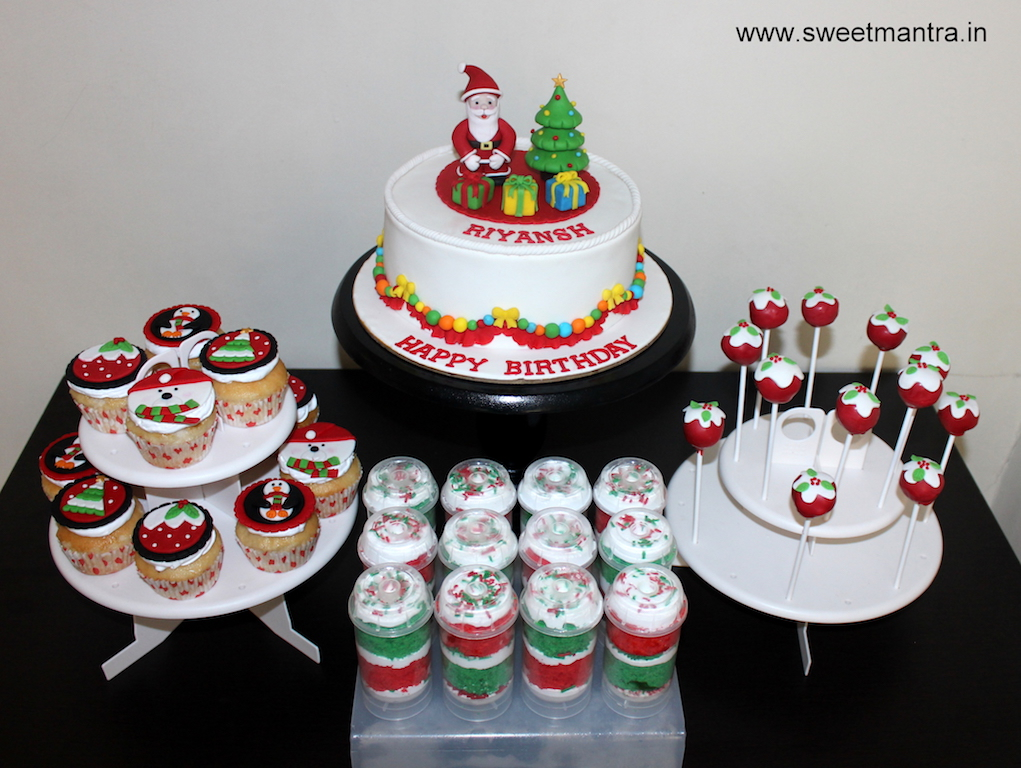 Christmas theme dessert/sugar table for boy's 1st birthday in Pune