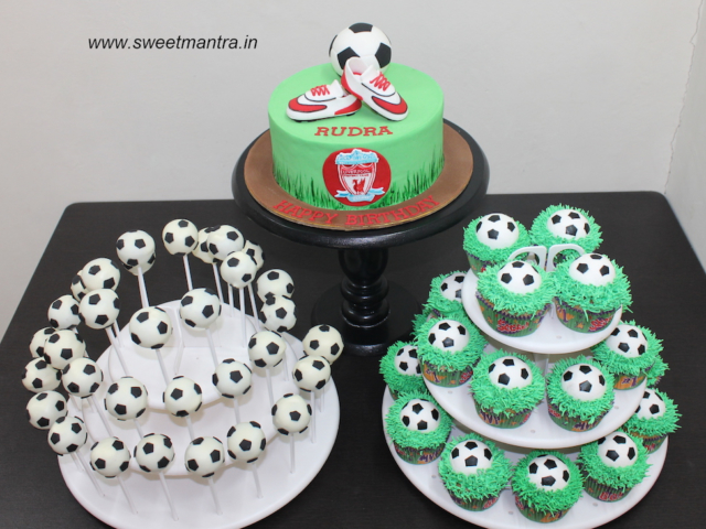 Football theme dessert/sugar table for boy's birthday in Pune