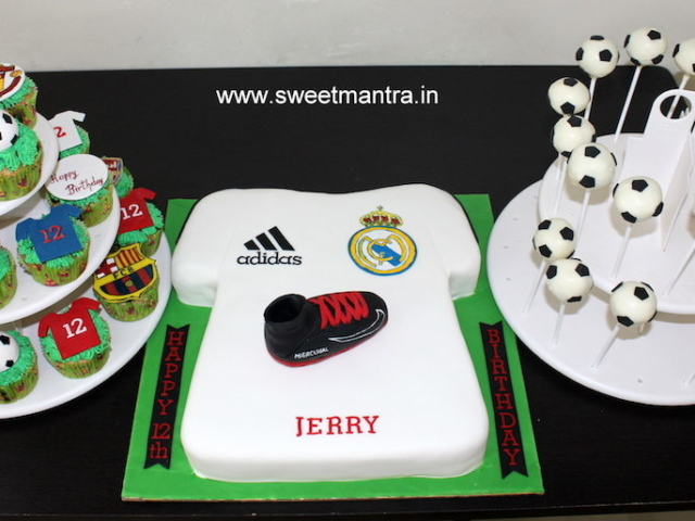 Football theme dessert/sugar table with Shirt shaped fondant cake, cupcakes and cakepops for boy's birthday in Pune