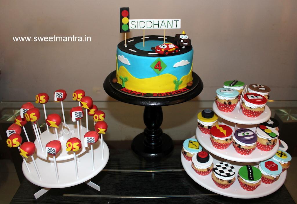 Disney Pixar Lightning McQueen cars theme dessert/sugar table for kid's birthday in Pune
