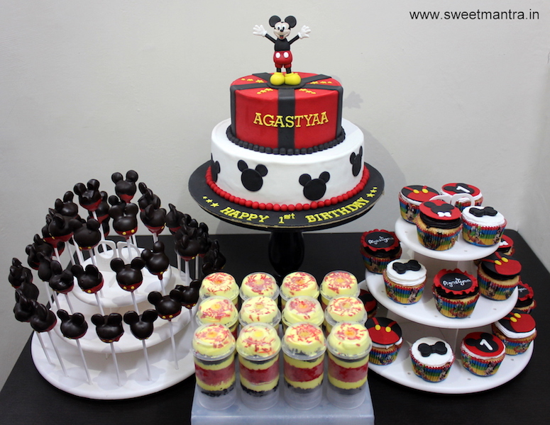 Mickey Mouse theme dessert/sugar table for boy's 1st birthday in Pune