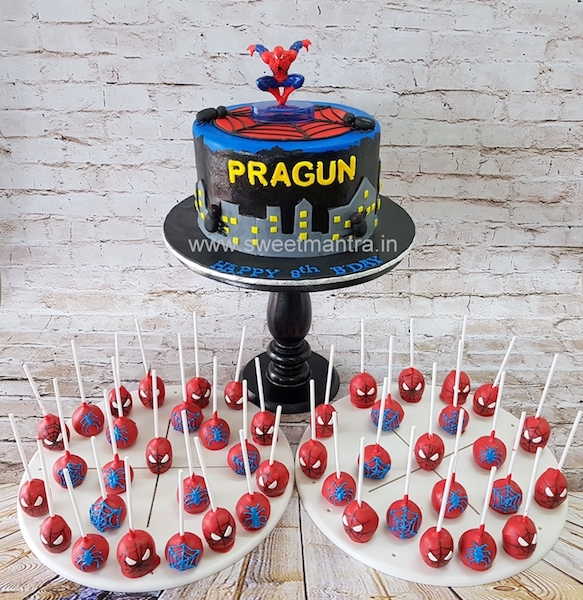 Spiderman theme dessert/sugar table with Spiderman fondant cake and cake pops for boy's birthday in Pune