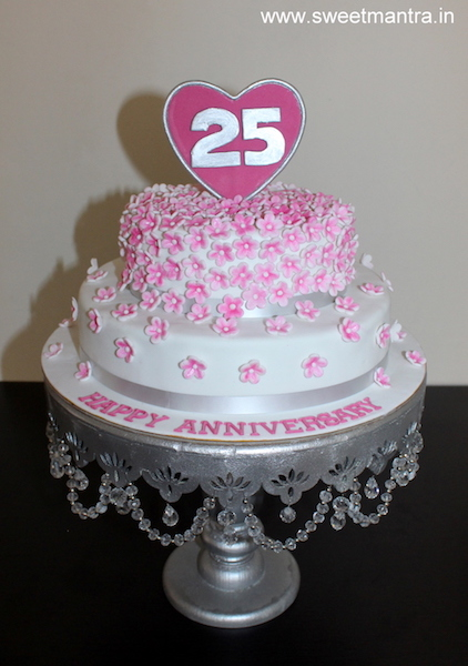 Cherry blossom flowers theme 2 tier cake for 25th anniversary in Pune