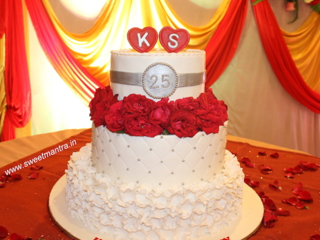 Customized 3 layer fondant cake for 25th, silver anniversary in Pune