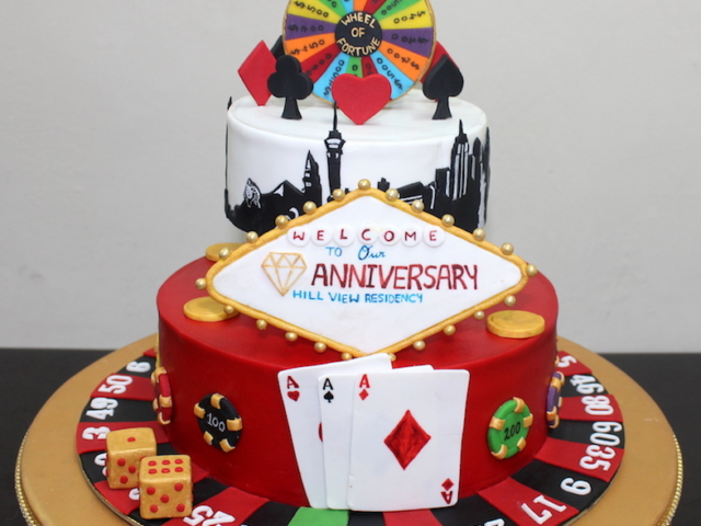 Las Vegas theme 2 tier customized cake for 60th anniversary in Pune