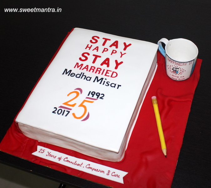 Book shaped 3D designer cake for parents 25th anniversary in Pune