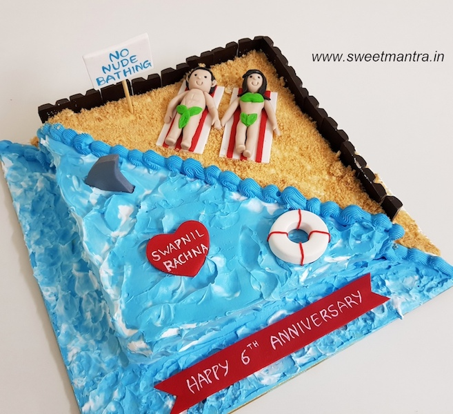 Beach theme fresh cream cake for 6th anniversary in Pune