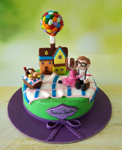 Hollywood movie UP, Carl and Ellie theme anniversary cake in Pune