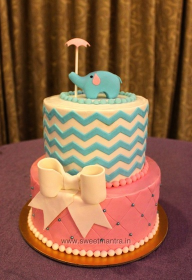 Baby Shower theme customized 2 layer fondant cake in Pune