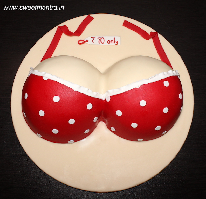Boobs, Bra shaped 3D naughty cake for bachelor party in Pune