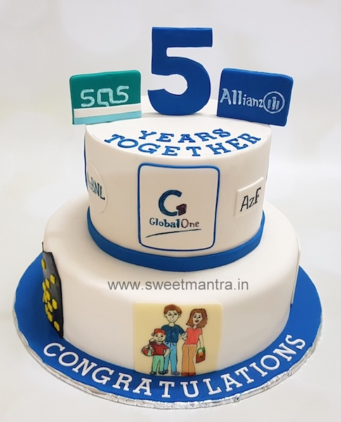 2 tier customized cake for Corporate companys 5th anniversary in Pune