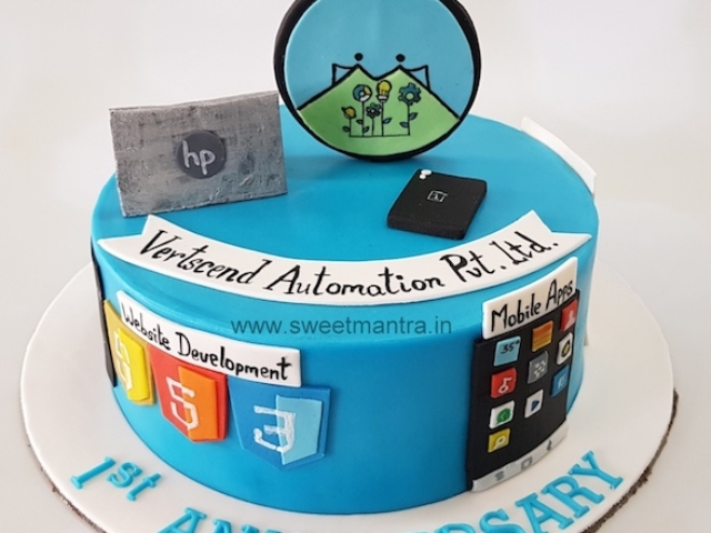 Customized fondant cake for startup companys 1st anniversary in Pune