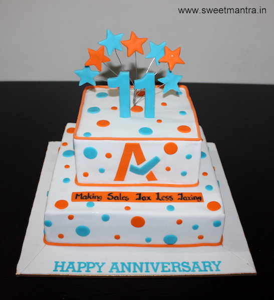 Customized 2 layer cake for Corporate IT companys anniversary in Pune