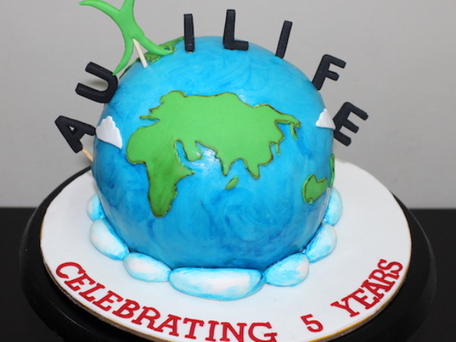 Globe shaped 3D cake for companys 5th anniversary in Pune