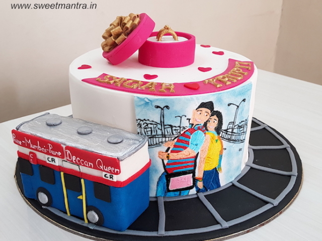 Mumbai Pune Mumbai marathi movie theme cake for Engagement in Pune