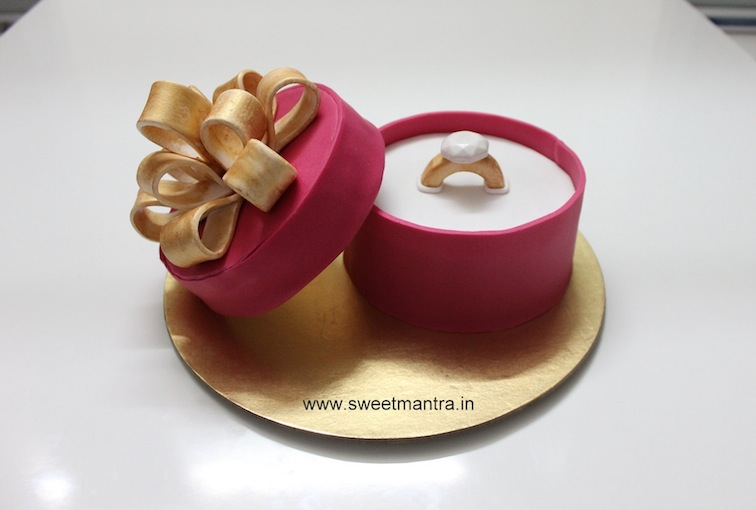 Engagement Ring Box shaped 3D cake for anniversary in Pune