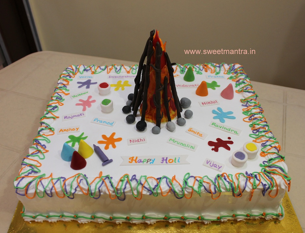 Indian festival holi theme customized colorful cake in Pune