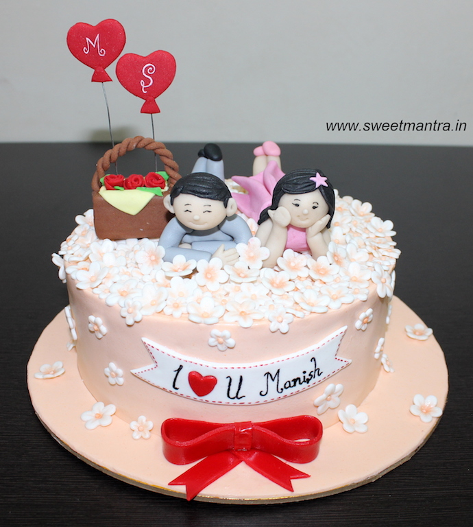Love couple, Valentine theme customized cake with flowers in Pune