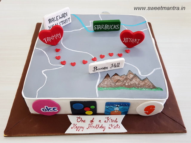 Love theme customized cake for girlfriends birthday in Pune