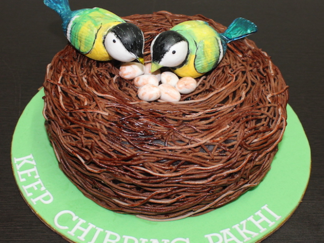 Valentine, Love birds nest shaped 3D cake for anniversary in Pune