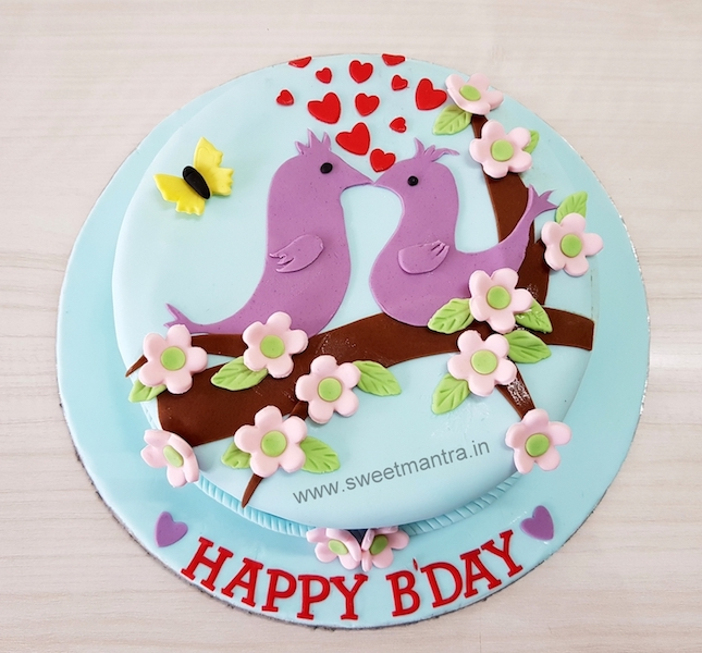 Love birds theme designer cake for husbands birthday in Pune