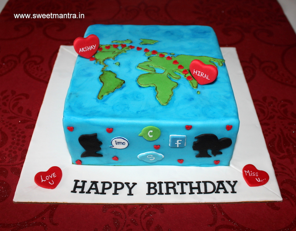 Long distance love from US to India theme cake in Pune