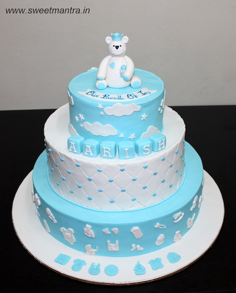 Naming Ceremony theme 3 tier customized cake for boy in Pune