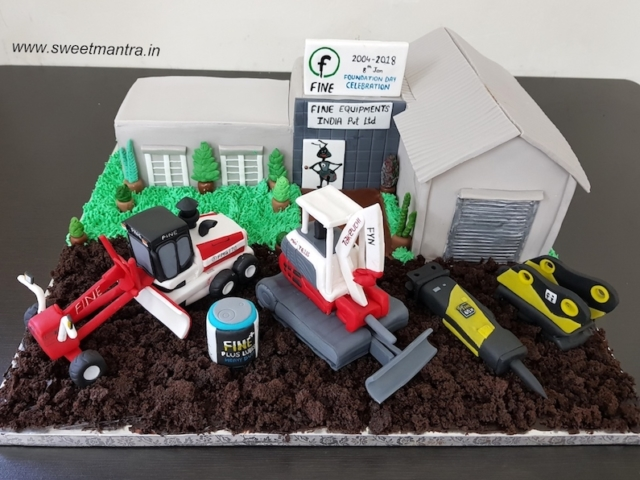 Office, equipments shaped 3D cake for company anniversary in Pune