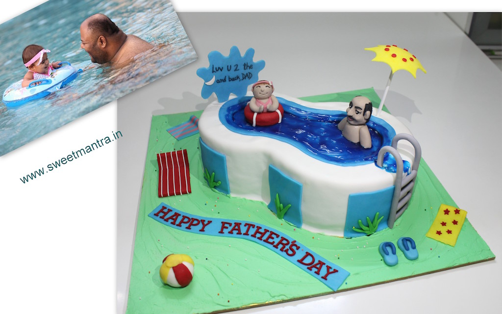 Swimming pool shaped 3D cake for Fathers day in Pune
