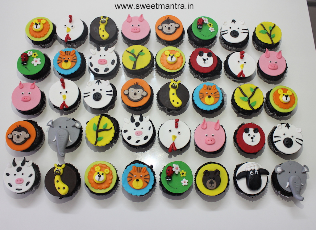 Jungle Animals theme cupcakes for kids birthday in Pune