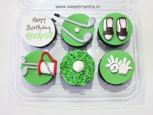 Golf theme customized designer cupcakes in Pune