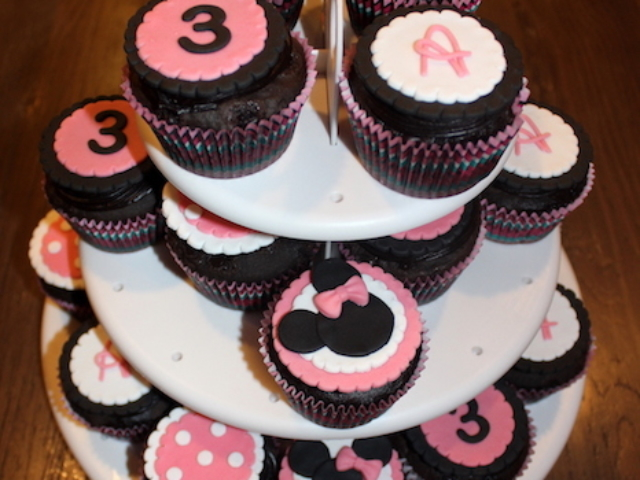 Minnie theme cupcakes for girls 3rd birthday in Pune