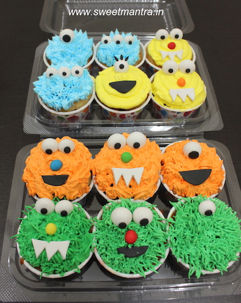 Monster theme cupcakes for kids 1st birthday in Pune