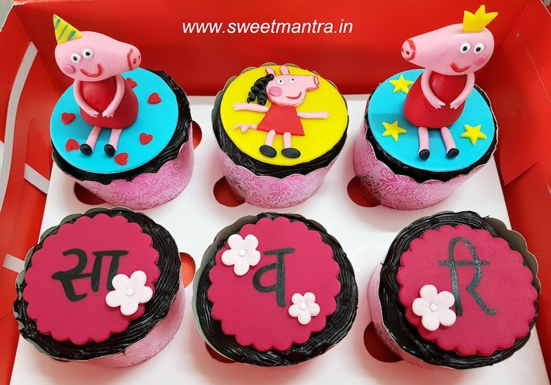 Peppa pig theme fondant cupcakes for kids birthday in Pune