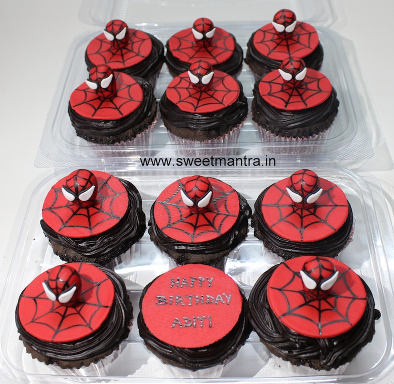 Spiderman theme cupcakes for kids birthday in Pune
