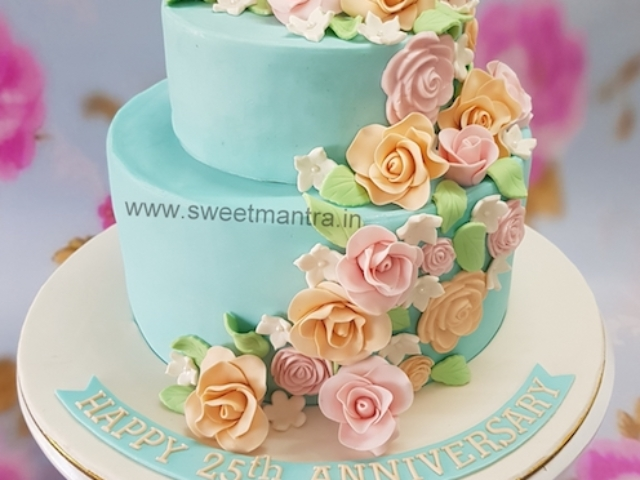 2 tier fondant cake with flowers for 25th anniversary in Pune