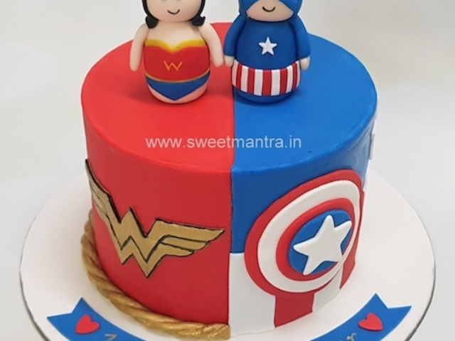 Superheroes Captain America and Wonder Woman theme anniversary cake in Pune