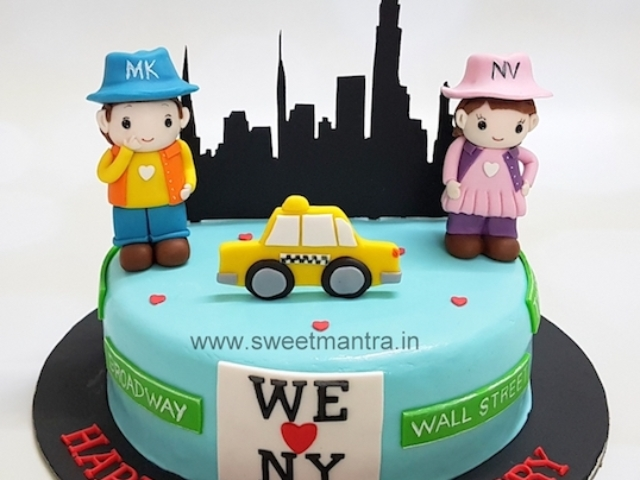 Newyork theme customized anniversary cake in Pune