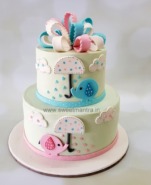 Baby Shower theme 2 tier fondant cake in Pune