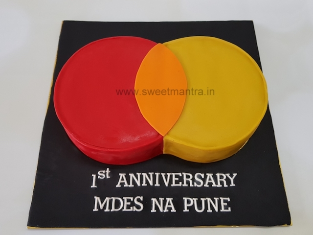 Credit card company Mastercard logo shaped 3D cake for 1st anniversary in Pune