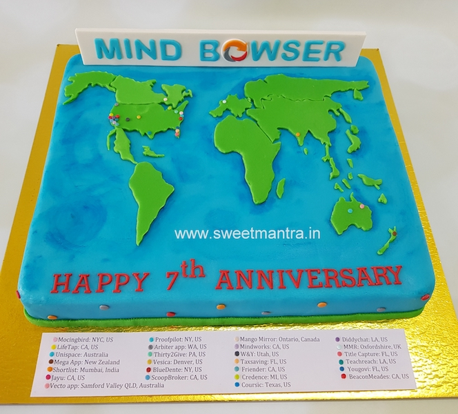 Customized cake for corporate company's 7th anniversary in Pune