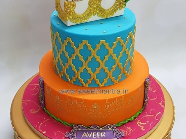 Indian mythology Lord Rama theme 2 tier fondant cake for Naming Ceremony in Pune