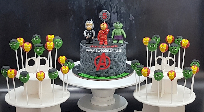 Avengers Superheroes theme dessert table for boy's 5th birthday in Pune