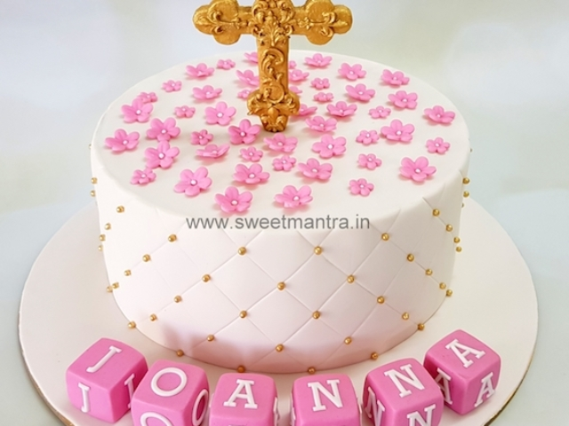 Customized cake for baby girl's Baptism, Christening ceremony in Pune