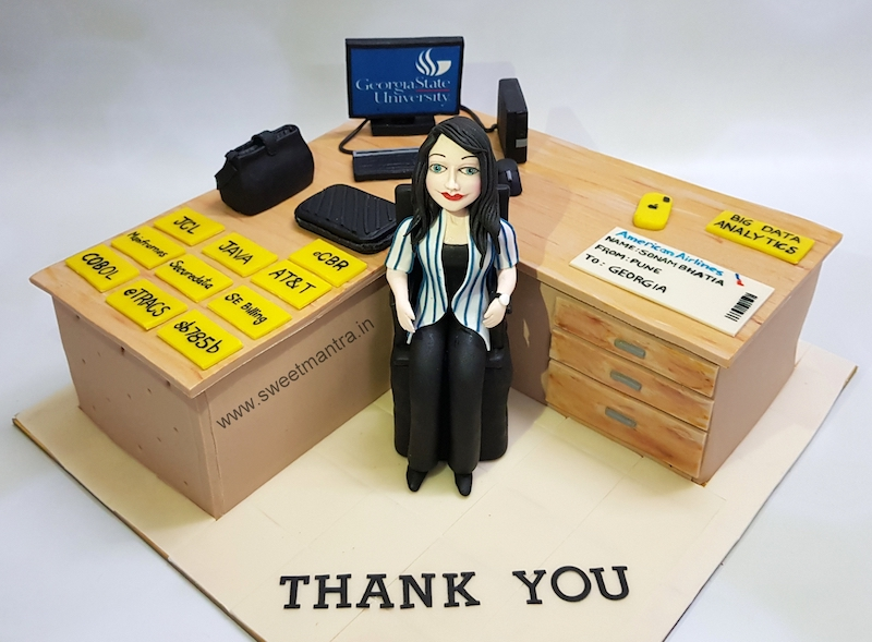 Office desk shaped customized 3D cake for an IT professionals farewell in Pune