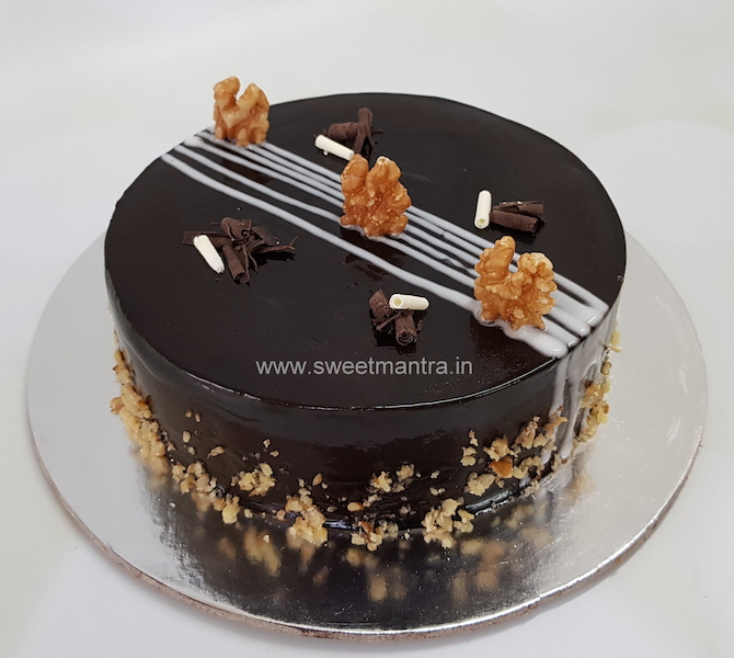Homemade, eggless Chocolate Walnut cake in Pune