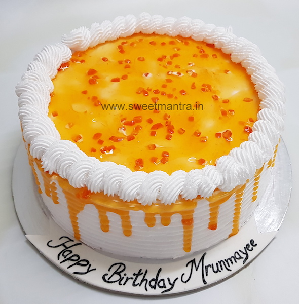 Homemade, eggless Orange fresh cream cake in Pune