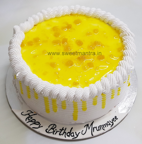 Homemade, eggless Pineapple fresh cream cake in Pune
